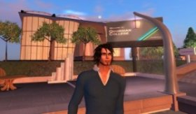 An avatar stands in front of a virtual building and virtual Georgian College sign