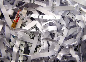 Photograph of shredded paper