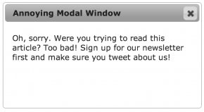 Screenshot of a pop up modal window that says,