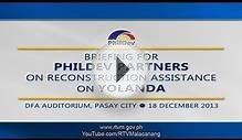 Briefing for Philippine Development Partners on